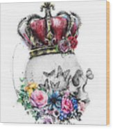 Skull Queen With Flowers Wood Print