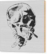 Skull Smoking A Cigarette Wood Print