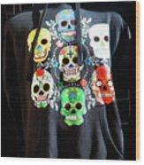 Skull T Shirts Day Of The Dead  Wood Print