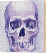 Purple Skull Wood Print