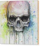 Skull Watercolor Rainbow Wood Print