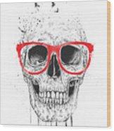 Skull With Red Glasses Wood Print