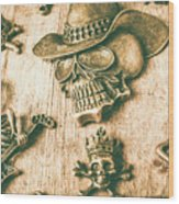 Skulls And Pieces Wood Print