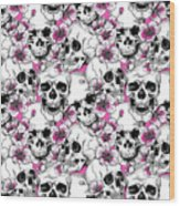 Skulls And Red Flowers Wood Print