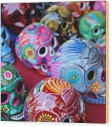 Skulls Day Of The Dead  Wood Print