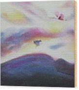 Sky And Birds Wood Print
