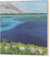 Serene Blue Lake Wood Print
