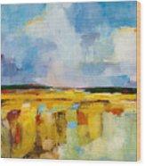 Sky And Marsh Wood Print