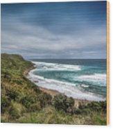 Sky Blue Coast Wood Print