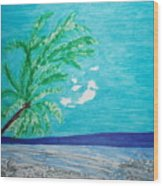 Sky Blue Palm Tree Beach Wood Print