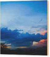 Sky Blue Sky Black Wood Print