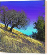 Sky Burning Blue Wood Print