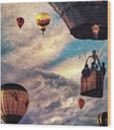 Sky Caravan Hot Air Balloons Wood Print