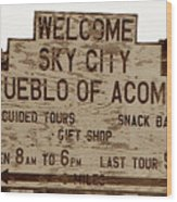Sky City Sign Wood Print