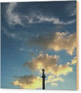 Sky Clouds And Statue In Stuttgart Germany Wood Print