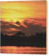 Sky Is On Fire Wood Print