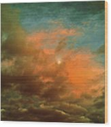 Sky Moods - When The Moons Behind The Clouds Wood Print