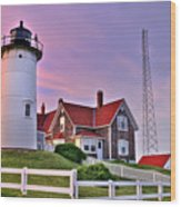 Sky Of Passion - Nobska Lighthouse Wood Print by Thomas Schoeller