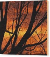 Sky On Fire Wood Print