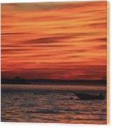 Sky Ripple Sunset Wood Print