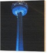 Sky Tower Blue Wood Print