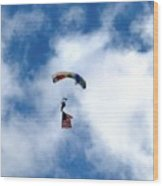 Skydiver With Flag Wood Print