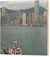 Skyline Across The Harbor From Kowloon In The Morning Wood Print by Sami Sarkis