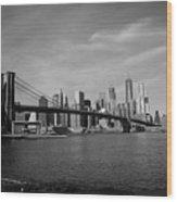Skyline And The Brooklyn Bridge Wood Print