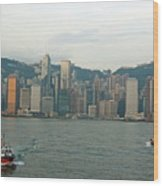 Skyline From Kowloon With Victoria Peak In The Background Wood Print by Sami Sarkis