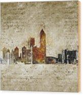 skyline of Atlanta in modern and abstract vintage-look Wood Print