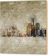 skyline of Detroit in modern and abstract vintage-look Wood Print