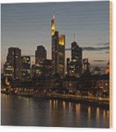 Skyline Of Frankfurt City In Twilight Wood Print