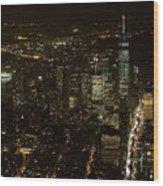 Skyline Of New York City - Lower Manhattan Night Aerial Wood Print