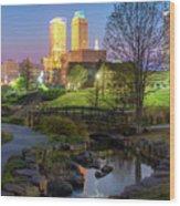Skyline Of Tulsa Oklahoma At Dusk Wood Print
