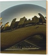 Skyline Reflection On Cloud Gate - Chicago -  Wood Print