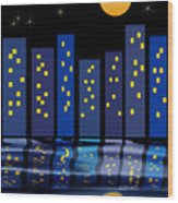 Skyline Reflections Wood Print by Arline Wagner