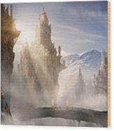 Skyrim Fantasy Ruins Wood Print by Alex Ruiz