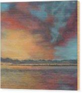 Sky's On Fire Wood Print