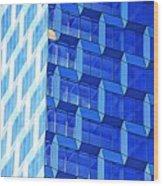 Skyscraper Blue Wood Print