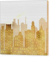 Skyscrapers - Panorama Of Modern Skyscraper Town Wood Print