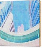 Skyscrapers Against Blue Sky Wood Print
