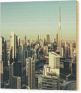 Skyscrapers Of Dubai At Sunset Wood Print