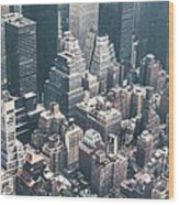 Skyscrapers View From Above Building 83641 3840x1200 Wood Print
