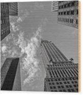 Skytops Manhattan Black And White Wood Print