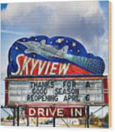 Skyview Drive-in Theater Wood Print