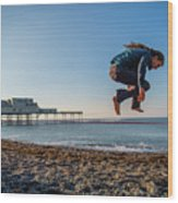 Slacklining On Aberystwyth Beach Wood Print