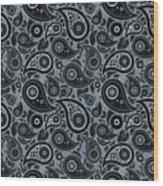 Slate Gray Paisley Design Wood Print