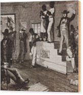 Slave Auction In Virginia Wood Print by Photo Researchers