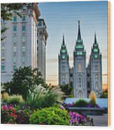 Slc Temple Js Building Wood Print
