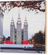Slc Temple Red And White Wood Print